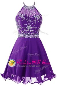 Modern Halter Top Sleeveless Organza Mini Length Zipper Dress for Prom in Purple for with Beading