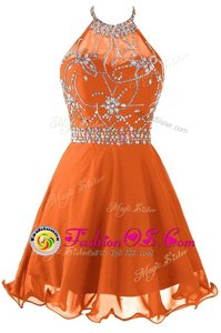 Halter Top Sleeveless Mini Length Beading Orange Organza