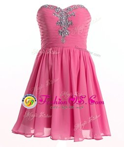Rose Pink Lace Up Sweetheart Beading Dress for Prom Organza Sleeveless