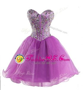 Lilac Ball Gowns Sweetheart Sleeveless Organza Mini Length Lace Up Beading Celebrity Dress