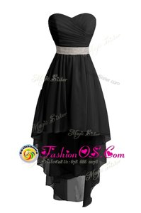 Flare Black Organza Lace Up Womens Evening Dresses Sleeveless High Low Belt