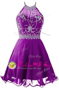 Purple A-line Halter Top Sleeveless Organza Mini Length Zipper Beading Dress for Prom