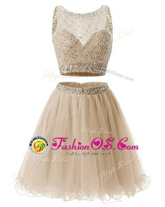 Champagne Evening Dress Prom and Party and For with Beading and Belt Sweetheart Sleeveless Side Zipper