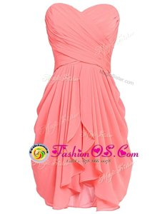 Admirable Watermelon Red Evening Dress Prom and Party and For with Ruching Sweetheart Sleeveless Lace Up