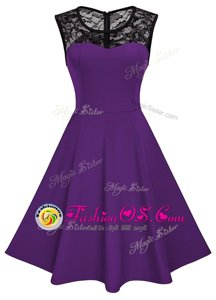 Lovely Scoop Purple A-line Lace Homecoming Dress Zipper Satin Sleeveless Knee Length