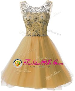 Scoop Gold Sleeveless Chiffon Zipper Prom Party Dress for Prom and Party