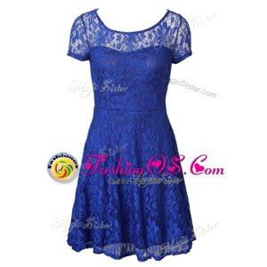 Colorful Scoop Blue Short Sleeves Organza Side Zipper Mother Of The Bride Dress for Prom and Party