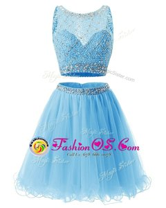 Fashion Scoop Sleeveless Organza Prom Dresses Beading and Belt Zipper