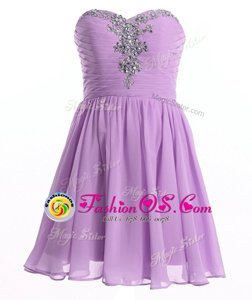 Lavender Sleeveless Beading Mini Length Homecoming Dress