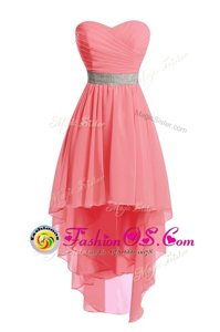 Discount Scoop Sleeveless Clasp Handle Mini Length Beading Prom Evening Gown