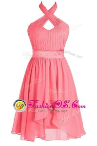 Halter Top Tea Length Backless Homecoming Dresses Watermelon Red and In for Prom and Party with Ruching and Belt