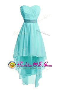 Organza Sweetheart Sleeveless Lace Up Ruching and Belt Homecoming Dress Online in Aqua Blue