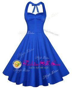 Blue A-line Sweetheart Sleeveless Satin Knee Length Backless Ruching Prom Evening Gown