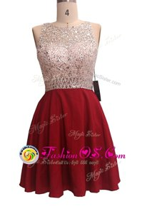 Wine Red A-line Chiffon Scoop Sleeveless Sequins Knee Length Zipper Dress for Prom