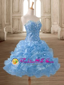 Fashionable Sweetheart Sleeveless Lace Up Blue Organza