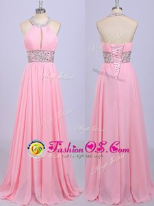 Dramatic Halter Top Sleeveless Chiffon Homecoming Dress Beading and Belt Zipper