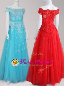 Off the Shoulder Cap Sleeves Floor Length Beading and Appliques Zipper Prom Evening Gown with Aqua Blue