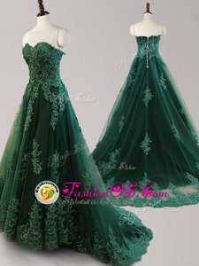 Pretty Dark Green Lace Up Prom Party Dress Beading and Appliques Sleeveless Brush Train