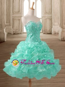 Organza Sweetheart Sleeveless Lace Up Beading and Ruffles Prom Dress in Apple Green