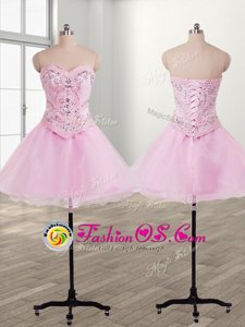 Mini Length Baby Pink Prom Gown Sweetheart Sleeveless Lace Up