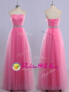 Rose Pink Sweetheart Neckline Beading Prom Evening Gown Sleeveless Lace Up