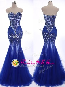Luxurious Royal Blue Mermaid Beading Prom Dresses Zipper Tulle Sleeveless
