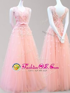 Super Sleeveless Tulle Floor Length Lace Up Dress for Prom in Baby Pink for with Appliques and Bowknot