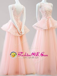 High End Scoop Floor Length Backless Peach and In for Prom with Appliques and Belt