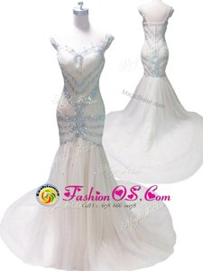 Attractive Mermaid Straps White Sleeveless With Train Beading Zipper