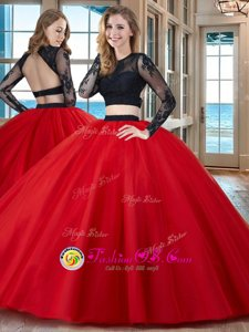 Scoop Red Tulle Backless Sweet 16 Dresses Long Sleeves Floor Length Appliques