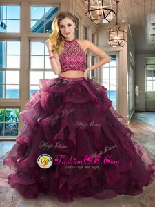 Halter Top Sleeveless Organza With Brush Train Backless Sweet 16 Quinceanera Dress in Fuchsia for with Beading and Ruffles