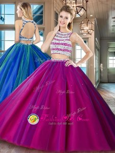 Best Fuchsia Tulle Backless Scoop Sleeveless Floor Length Quinceanera Gown Beading