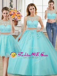 Three Piece Aqua Blue Ball Gowns Tulle Scoop Sleeveless Beading and Appliques Floor Length Zipper Quinceanera Dresses