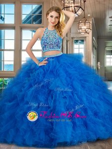 Custom Designed Scoop Backless Floor Length Blue 15th Birthday Dress Tulle Sleeveless Beading and Ruffles