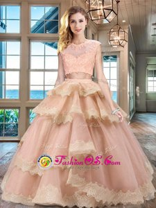 Adorable Scoop Red Two Pieces Beading and Pick Ups Vestidos de Quinceanera Criss Cross Tulle Sleeveless Floor Length