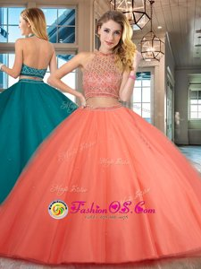 Fashion Halter Top Beading Quinceanera Gown Orange Red Backless Sleeveless Floor Length