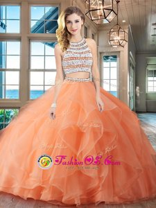 Hot Selling Orange Backless Scoop Beading and Ruffles 15th Birthday Dress Organza Sleeveless Brush Train