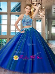 Scoop Sleeveless Backless Quinceanera Gowns Royal Blue Tulle