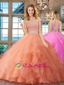 Fashion Two Pieces Quinceanera Dresses Apple Green Scoop Organza Cap Sleeves Floor Length Backless