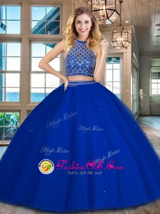 Royal Blue Halter Top Backless Beading Quinceanera Gowns Sleeveless