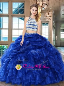 Fantastic Royal Blue Organza Backless Scoop Sleeveless Floor Length 15 Quinceanera Dress Beading and Ruffles and Pick Ups