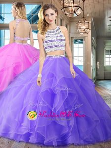 Lavender Quinceanera Gown Military Ball and Sweet 16 and Quinceanera and For with Beading and Ruffles Scoop Sleeveless Brush Train Backless