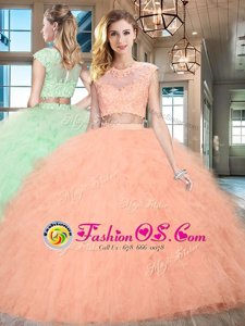 Customized Scoop Cap Sleeves Beading and Ruffles Zipper 15 Quinceanera Dress