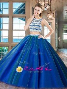 Best Tulle Scoop Sleeveless Backless Beading Sweet 16 Dresses in Royal Blue
