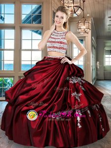 Discount Scoop Backless Floor Length Wine Red 15th Birthday Dress Taffeta Sleeveless Beading and Appliques and Pick Ups