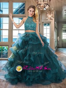 Excellent Teal Backless Halter Top Beading and Ruffles Quinceanera Dresses Tulle Sleeveless Brush Train