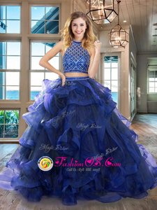Admirable Royal Blue Halter Top Neckline Beading and Ruffles Ball Gown Prom Dress Sleeveless Backless
