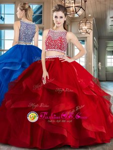 Sexy Red Bateau Neckline Beading and Ruffles Quinceanera Gowns Sleeveless Side Zipper