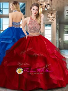 Red Backless Halter Top Beading and Ruffles Quinceanera Dress Tulle Sleeveless Brush Train