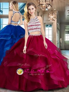 Great Wine Red Tulle Backless Scoop Sleeveless With Train Sweet 16 Dress Brush Train Beading and Ruffles